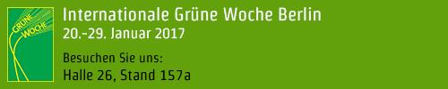 Besuchen Sie uns auf der Grünen Woche, Halle 26, Stand 157a!